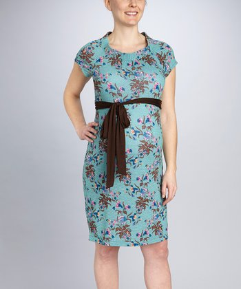 Blue Floral Maternity Tie-Waist Dress
