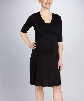Black Drape Maternity & Nursing Dress