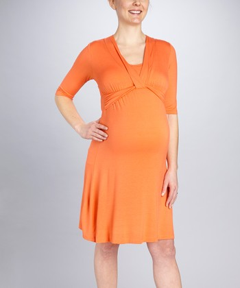Orange Knot Maternity & Nursing Dress