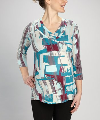 Blue Geometric Maternity & Nursing Surplice Top