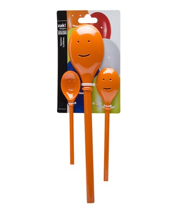 Orange Three-Piece Happy Spoon Set