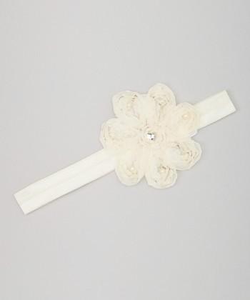 Truffles Ruffles Ivory Pearl Flower Headband