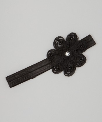 Black Pearl Flower Headband