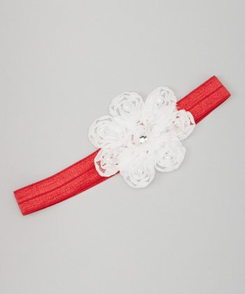 Red & White Pearl Flower Headband