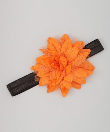 Black & Orange Rosette Headband