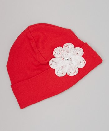 Red & White Pearl Flower Beanie