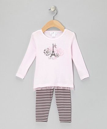 Pink 'Paris' Eiffel Tower Tunic & Black Stripe Leggings