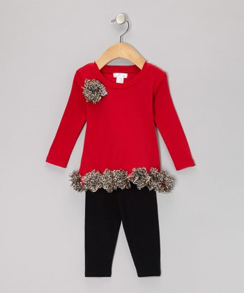 Red & Black Tunic & Leggings - Infant