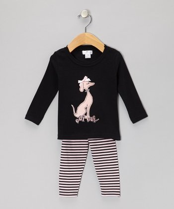 Black 'Oui Oui' Doggy Tunic & Leggings