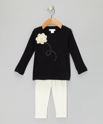 Black Pearl Flower Tunic & Ivory Leggings - Infant