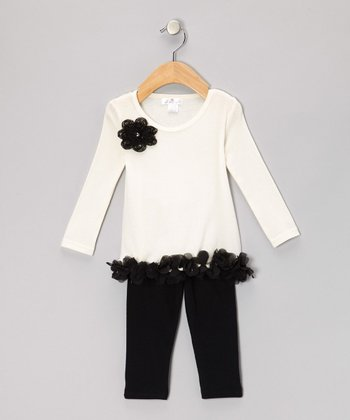 Ivory & Black Petal Tunic & Leggings