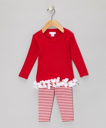 Red & White Petal Tunic & Stripe Leggings