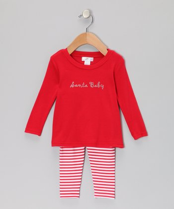 Red & White 'Santa Baby' Tunic & Stripe Leggings
