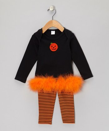 Black & Orange Marabou Pumpkin Tunic & Stripe Leggings