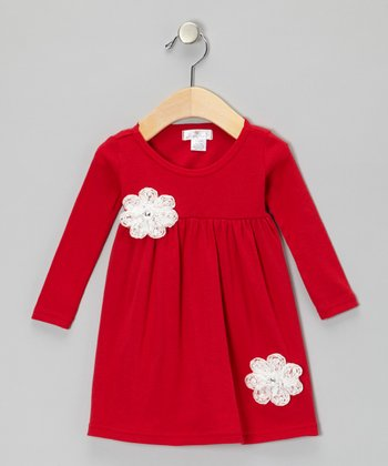 Red & White Pearl Flower Bella Dress - Infant