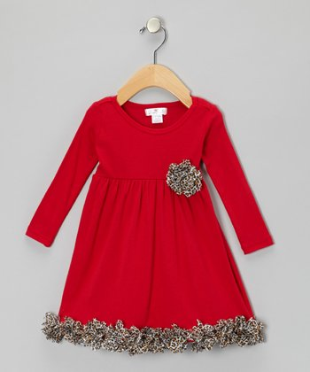 Red Leopard Babydoll Dress - Infant