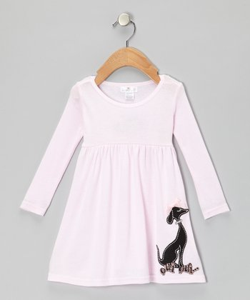 Pink 'Oui Oui' Doggy Babydoll Dress