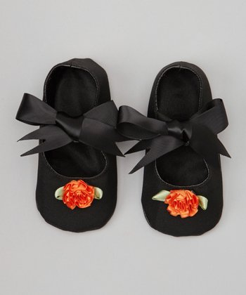 Black & Orange Rosette Bow Flat