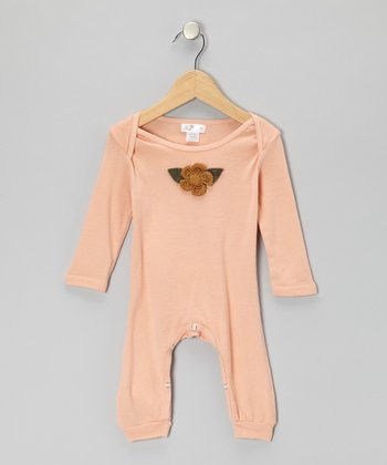 Blush Crocheted Flower Playsuit - Infant