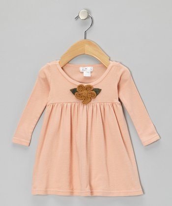 Blush Crocheted Flower Babydoll Dress - Infant