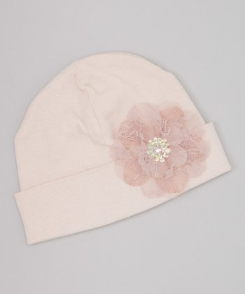 Dusty Mauve Lace Flower Beanie