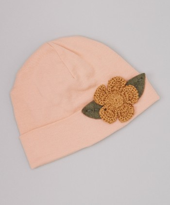 Blush Crocheted Flower Beanie