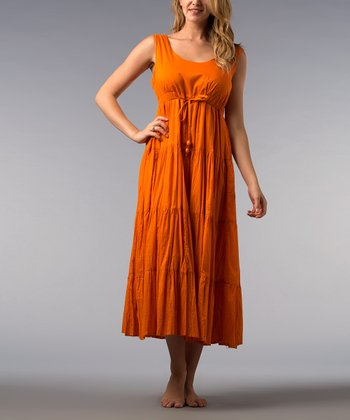Pumpkin Tiered Empire-Waist Midi Dress - Women