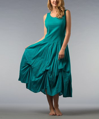 Teal Pin Tuck Midi Dress - Women