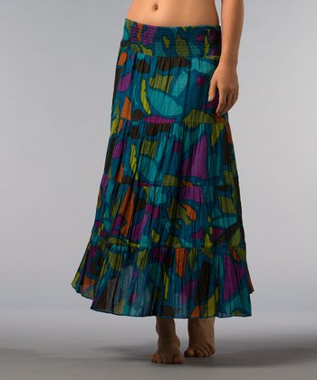 Teal & Purple Abstract Skirt