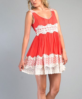 Coral Lace-Trim Dress