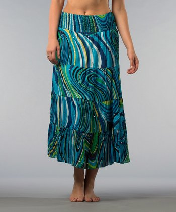 Turquoise Abstract Skirt