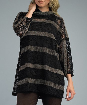 Black & Café Sheer Stripe Layered Top