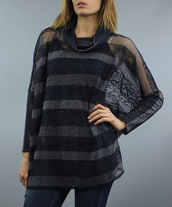 Black & Gray Sheer Stripe Layered Top