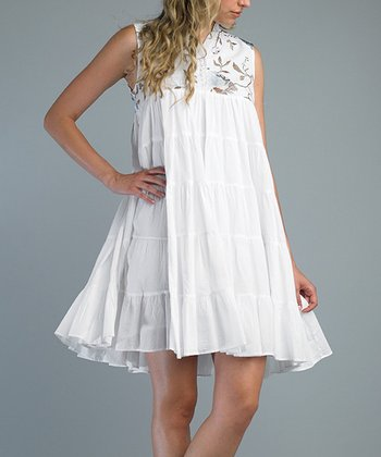 White Embroidered Swing Dress