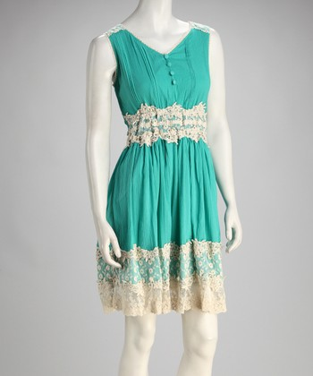 Turquoise Vintage Lace Dress