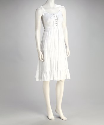 White Lace-Up Tier Dress