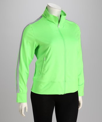 Neon Lime & Gray Track Jacket - Plus