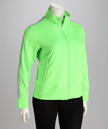 Neon Lime & Gray Track Jacket