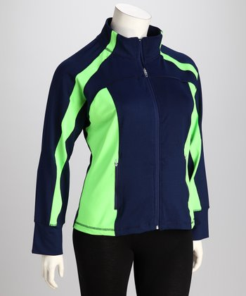 Navy & Neon Lime Plus-Size Track Jacket