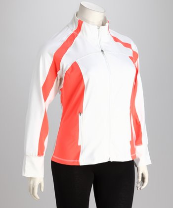 White & Neon Mango Track Jacket - Plus