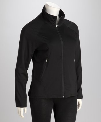 Black Plus-Size Track Jacket