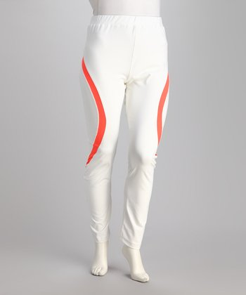 White & Neon Mango Yoga Pants