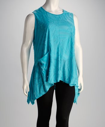 Turquoise Sleeveless Asymmetrical Top - Plus