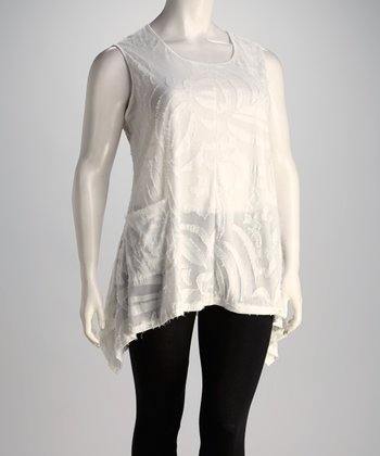 White Sleeveless Asymmetrical Top - Plus