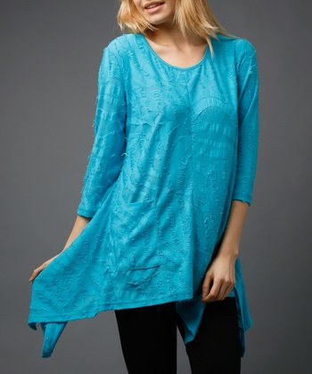 Turquoise Long-Sleeve Sidetail Tunic
