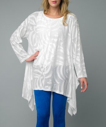 White Long-Sleeve Sidetail Tunic