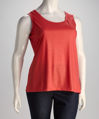 Bright Coral Plus-Size Sleeveless Top