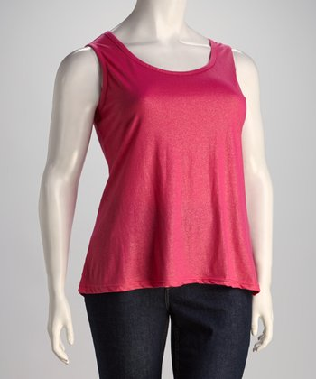 Hot Pink Sleeveless Top - Plus