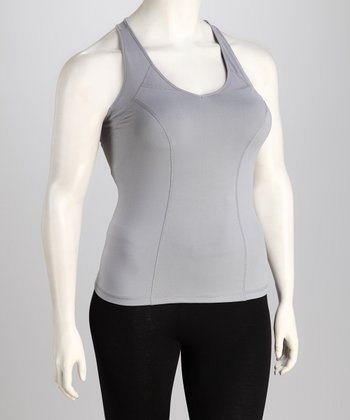 Gray Racerback Tank - Plus