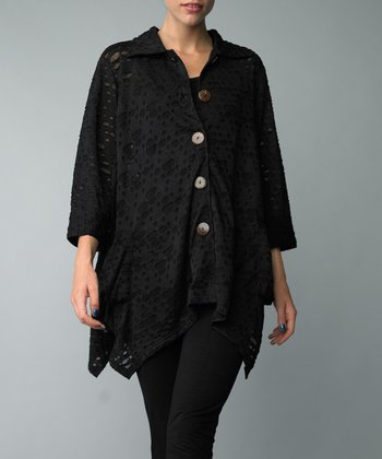 Black Cutout Handkerchief Duster